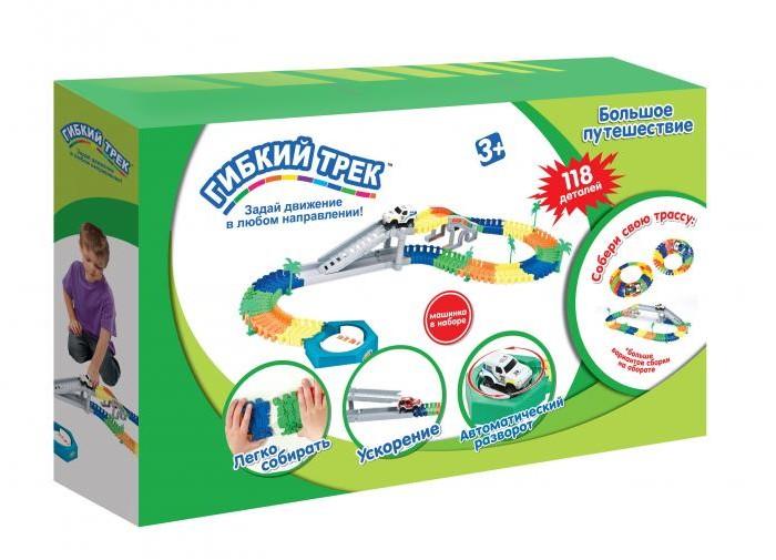 1 Toy Гибкий трек Большое путешествие 118 деталей, разворот, спуск, машинка Гибкий трек Большое путешествие 118 деталей, разворот, спуск, ма