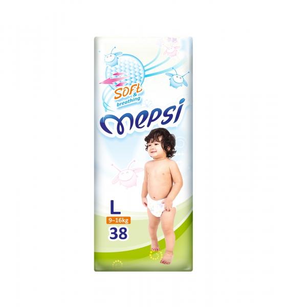 Mepsi Детские одноразовые подгузники с рельефным внутренним слоем размер Soft L (9-16 кг) 38 шт.