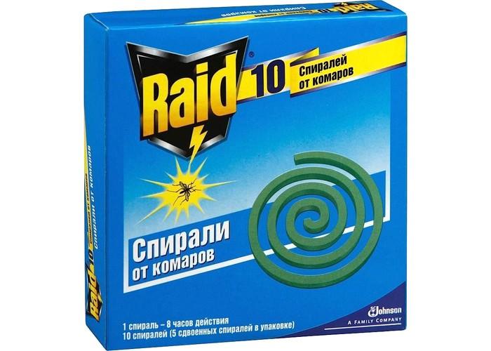 Средства от насекомых Raid Спираль от комаров 10 шт средства от насекомых mosquitall пластины от комаров нежная защита 10 шт