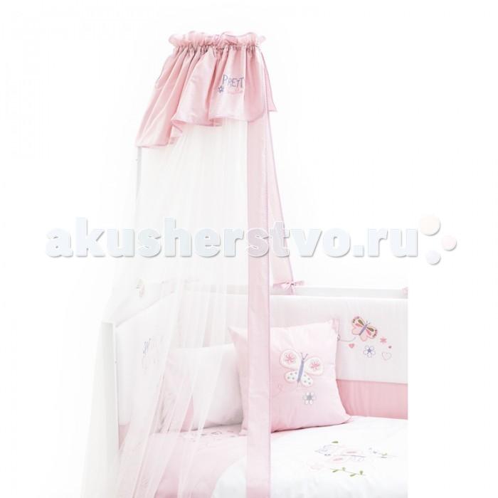 Балдахин для кроватки Fiorellino PrettyPrettyFiorellino Pretty – яркая и жизнерадостная коллекция для новорождённой малышки. Нежные оттенки розового, изящная вышивка, по мягким тканям словно порхает красочная бабочка в окружении цветов – трогательно и нарядно.   Особенности: балдахин идеально подойдёт для коллекции текстиля Fiorellino Pretty длина балдахина – 5 метров легко стирается и быстро сохнет<br>