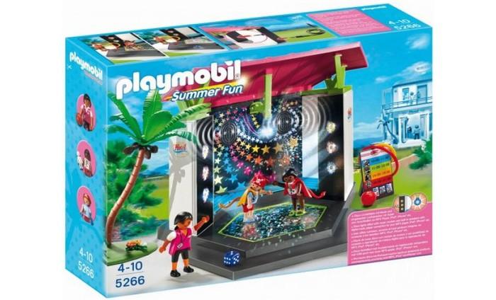 Конструктор Playmobil Отель: Детский клуб с танц площадкойОтель: Детский клуб с танц площадкойЧем занять детей в городке Playmobil, чтобы они весело провели время и не скучали? конечно ж отправиться на детскую танцплощадку, где можно вдоволь натанцеваться.   Подключайте к игрушке свой музыкальный плеер, включайте любимую музыку и можете танцевать со своими маленькими друзьями.   Танцплощадка имеет световые эффекты, так что можно устроить настоящую дискотеку.  В комплекте детский клуб, пальма, 4 минифигурки, аксессуары и провод mini-jack.   Игрушка работает от батареек (в комплект не входят).<br>