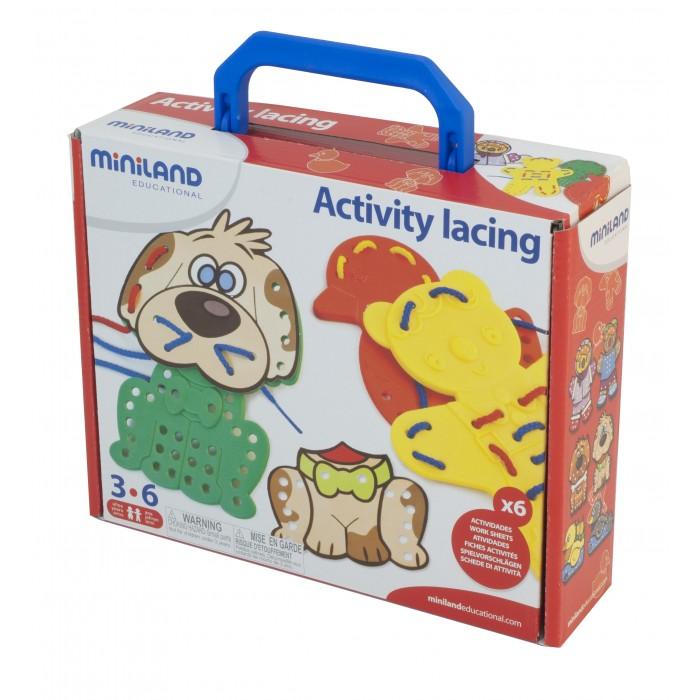Развивающие игрушки Miniland Шнуровка Животные в чемодане сортеры miniland шнуровка животные