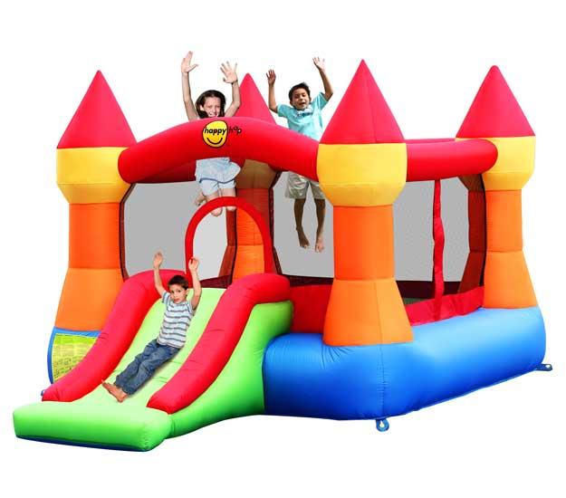 Happy Hop Надувной батут с горкой Супер прыжок 9017NНадувной батут с горкой Супер прыжок 9017NНадувной батут с горкой Happy Hop Супер прыжок 9017N - игровая модель для детей любого возраста. Установить можно как на детской площадке общего пользования, так и на дачном участке.   Технические характеристики:  Габариты модели: 365 x 265 x 215 см Высота основания: 40 см  Размеры батута: 250 x 240 см  Размеры прыжковой поверхности: 190 x 185 см  Высота защитной сетки-ограждения: 115 см  Размер горки: 125 x 86 см Высота площадки горки: 40 см  Ширина скользящей поверхности: 55 см  Допустимая нагрузка: 113 кг  Допустимое количество детей: 3.  Изделие выдерживает широкий диапазон температур: от –10 до +40 °C Прочность батута на растяжение - до 136 кг Прочность на разрыв - до 14 кг Прочность на соединение - до 27 кг   Материал надувного батута  Прыжковая поверхность: ПВХ ламинированный (laminated PVC) Поверхность батута: ламинированная ткань Оксфорд  Застежки: лавсан  Крепеж к земле: пластмасса.  Насос батута высокого качества, безопасен при использовании и безвреден для окружающей среды.  Насос можно использовать при температуре от -15 до + 40 °C.  Оснащен устройством защиты.   При возникновении в насосе короткого замыкания или при прочих возникших проблемах при его эксплуатации, он немедленно выключается, тем самым обеспечивает безопасность пользователю надувного батута. Насос отвечает экологическим стандартам ЕС, а также имеет сертификат безопасности GS.  Комплектация: Батут Воздухонагнетатель (компрессор) Сумка для хранения батута Пластиковые колышки для фиксации батута  Пластиковые колышки для фиксации воздухонагнетателя  Ремкомплект (по два кусочка ткани каждого цвета) Инструкция на русском языке.<br>