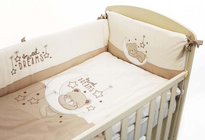 Комплект в кроватку Funnababy Dreams 140x70 (5 предметов)Dreams 140x70 (5 предметов)Комплект для кроватки Funnababy Dreams - высококачественное белье, которое изготавливается из 100% хлопка.   В комплекте:  Пододеяльник - 100х130 см.  Одеяло - 100х130 см.  Бампер из 4 частей на 140х70 см.  Простынка на резинке 140х70 см.  Наволочка - 40х60 см.   Особенности:   комплект постельного белья в детскую кроватку из натурального хлопка  постельное белье подойдёт для детской кроватки размером 140х70 см  в дизайне используется авторская вышивка и декоративное шитьё  спокойные и приятные цвета ткани с забавными рисунками не будут раздражать и утомлять глазки вашего ребёнка  нежные и мягкие материалы не будут раздражать нежную кожу ребёнка и не доставят ему неудобства  постельный комплект изготовлен из натуральных и гипоаллергенных тканей, которые создают комфортные условия для спокойного сна Вашего ребёнка  для наполнения защитного бампера, одеяла и подушки используется только экологически чистый наполнитель  данный комплект имеет 4-х сторонний защитный бампер, который защищает Вашего малыша по всему периметру кроватки  простынь с резинкой, которая помогает надежно закрепить ее на матрасе  белье легко стирается в режиме деликатной стирки при температуре 30&#186;С  комплект постельного белья сертифицирован и абсолютно безопасен для новорождённого малыша<br>