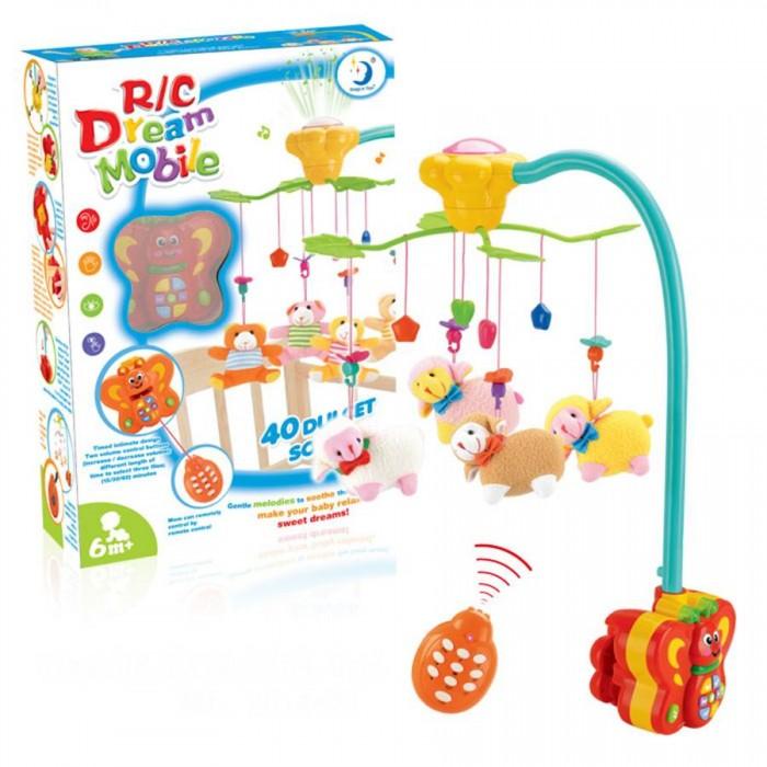 Мобиль Henglei  Овечки со светом и д/уОвечки со светом и д/уМузыкальный мобиль Овечки со светом и д/у обязательно понравится детишкам.  Помогает им в развитии фиксирования зрения на движущихся предметах, улучшает засыпание. Цветные игрушки привлекут внимание, а звук мелодии позволит ребёнку успокоиться.   Характеристики: мягкие игрушки - овечки музыкальный блок с регулировкой звука музыкальный блок со светом на батарейках с пультом дистанционного управления выполнены из безопасных материалов высокого качества<br>