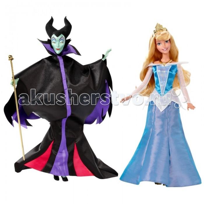 Disney Куклы Малифисента и Спящая красавицаКуклы Малифисента и Спящая красавицаВ прекрасном наборе серии Disney Princess представлены самые яркие представительницы добра и зла - Спящая красавица Аврора и колдунья Малефисента. Малышка с удовольствием будет придумывать свои волшебные истории про колдунью и принцессу.  Малефисента коварная колдунья, которая, рассердившись на короля и королеву, прокляла их малютку Аврору, и проклятье сбылось ровно через 16 лет. Как и положено колдуньям, Малефисента одета во все черное, ее мантия черно-фиолетового цвета.  Очаровательная принцесса Аврора одета в шикарное нежно-голубого цвета. Ее красивые волосы можно расчесывать, создавая неповторимые образы.   Высота куклы: 29 см.<br>
