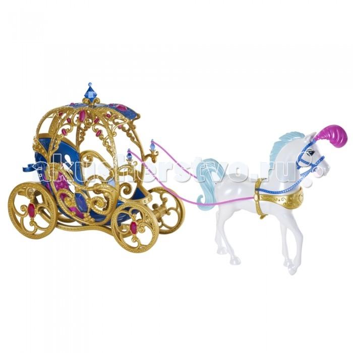 Disney Лошадь с каретой для ЗолушкиЛошадь с каретой для ЗолушкиПройти мимо такого набора не может ни одна малышка. Ведь каждая девочка в душе мечтает стать принцессой и повстречать своего единственного и неповторимого принца.  Золушка также мечтала о любви. И вот сейчас втайне от мачехи и её дочерей готовится отправиться на бал. У ней уже есть карета, запряженная белоснежным конём. Можно отправляться в путь.  Карета поражает своим изящным стилем – она инкрустирована камнями и резными узорами, от которых просто невозможно оторвать взгляда.  Высота куклы, которая может подойти для игр с каретой: примерно 30 см.<br>