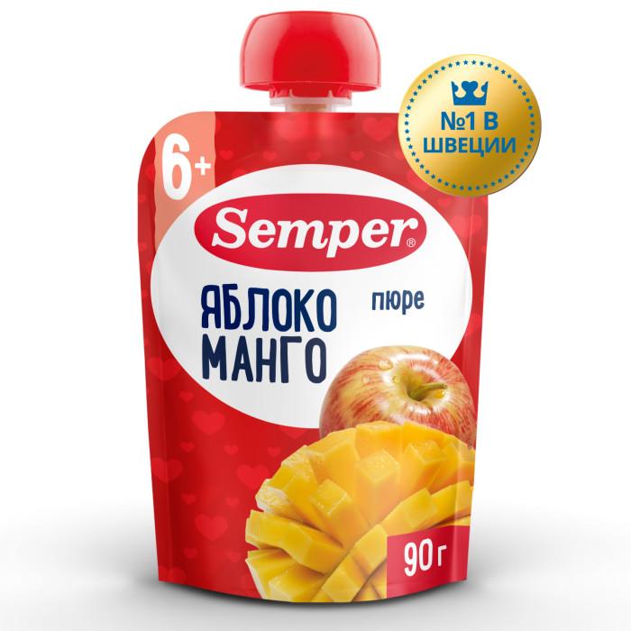 Пюре Semper Пюре Яблоко и манго с 6 мес., 90 г (пауч) активия биойогурт питьевой манго яблоко 2 0