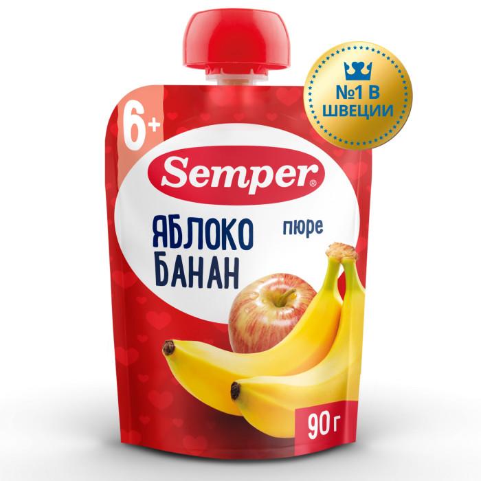 Пюре Semper Пюре Яблоко и банан с 6 мес., 90 г (пауч) бисквитные палочки савоярди 400 гр