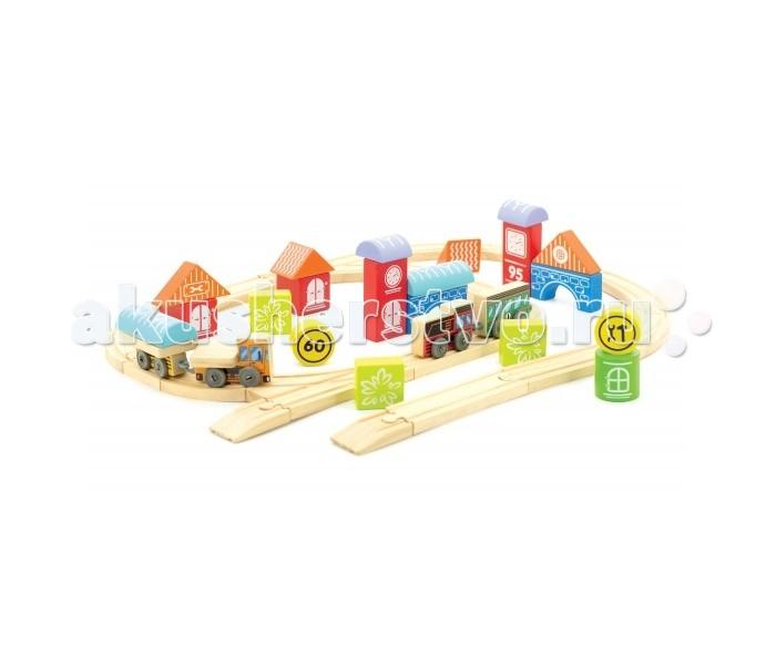 Конструктор Мир деревянных игрушек (МДИ) Трасса ГородТрасса ГородТрасса Город - этот игровой набор представляет собой деревянный конструктор, состоящий из нескольких разноплановых элементов. С его помощью ребенок сможет собрать железнодорожную трассу, а также несколько зданий, с которыми обычная дорога превратится в транспортную систему миниатюрного городка. Два паровозика с вагонами, которые также входят в комплект смогут развозить различные грузы, делая его жизнь более комфортной.  В наборе: детали трассы  поезд с вагоном  машина с грузом, домики  аксессуары<br>