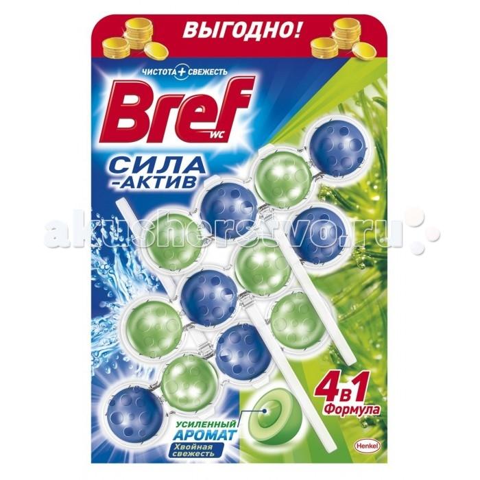Бытовая химия Bref Сила-Актив Освежитель для туалета Хвойная свежесть 3х50 г