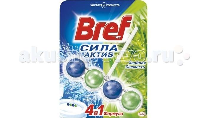 Бытовая химия Bref Сила-Актив Освежитель для туалета Хвойная свежесть 50 г