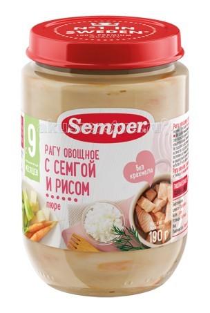 Пюре Semper Пюре Овощное рагу с семгой и рисом с 9 мес., 190 г пюре semper брокколи с кроликом и рисом с 9 мес 190 г