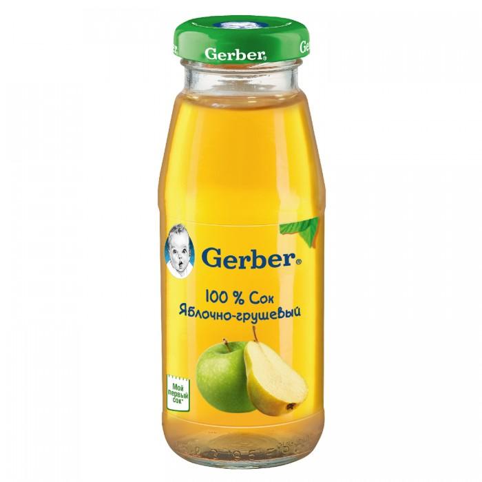 Соки и напитки Gerber Сок Яблочно-грушевый осветленный с 4 мес., 175 мл хипп сок яблочно малиновый с 5 мес 200мл