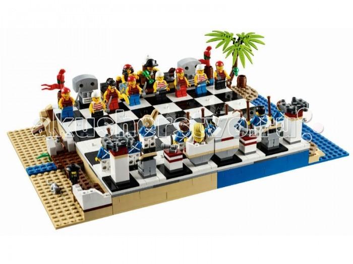 Конструктор Lego Pirates Пиратские ШахматыPirates Пиратские ШахматыКонструктор Lego Pirates Пиратские Шахматы придутся по вкусу не только любителям древней персидской игры, но и ценителям пиратской тематики, которая и послужила лейтмотивом для этого набора. Задают тон композиции со вкусом подобранные аксессуары – грубые бочки из-под пиратского рома и пороха, масляные фонари, ружейные стойки и, конечно же, песчано-морская цветовая гамма.  Капитан пиратов с суровым небритым лицом и кубком для вина в руках восседает на кресле. Рядом расположилась его избранница, у которой под пышными кудрями, на затылке скрыто... второе лицо. В качестве пешек в этом конструкторе используется разношерстное войско рядовых матросов в банданах, тельниках и с абордажными саблями, а также один «джокер», вооруженный бананом. В игре можно наделить эту особенную пешку суперсилой – например, «королевскими» ходами или способностью к регенерации.  Их противники – британский флот, все практически одинаковы, как и положено хорошим солдатам. За стеной широких спин восседают король и королева, рассматривающие поле боя через подзорную трубу и морскую астролябию. Среди британцев, впрочем, также есть «джокер», избравший для битвы не ружье, как его товарищи, а гигантский батон; он также двулик, как и королева пиратов. Впрочем, их головы можно «приделать» любому из солдат.  Еще любопытнее обстоит ситуация с «артиллерией» – ладьями, конями и «слонами». Вместо них на вооружении состоят попугаи, катапульты и странные скульптуры у пиратов, а цивилизованное королевское войско в ответ выдвигает обзорные башни, подзорные трубы и морские карты на пюпитрах.  Шахматы Lego увлекательны сами по себе, а учитывая нестандартное оформление, игра станет совершенно незабываемой. Удобная система креплений фигурок к доске и продуманная система хранения позволяет играть в любом месте – в поезде или самолете, на пляже, в гостинице и других местах отдыха<br>