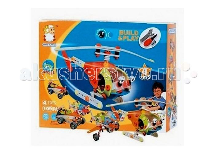 Конструкторы Shantou Gepai Build & Play - Собери вертолет 4 модели 109 элементов конструкторы shantou gepai собери машинку 51 элемент