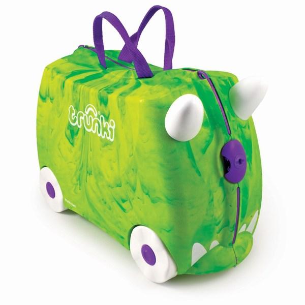 Trunki Чемодан на колесах Транкозавр зеленый Trunkisaurus RexЧемодан на колесах Транкозавр зеленый Trunkisaurus RexКрасочный и яркий чемодан для детских вещей.  Имеет очень прочную конструкцию, что позволяет использовать его, не только как обычный чемодан, но и как каталку. Имеет седлообразное основание для удобства вашего малыша. Теперь поездка и ожидание не будет таким утомительным.   Особенности чемоданов Trunki: предназначен для перевозки и хранения вещей и игрушек Вашего ребенка может быть использован как каталка для ребенка имеет прочный ремешок, что позволит катать родителям ребенка за собой выполнен в виде красочных и ярких персонажей, что очень понравится Вашему малышу  Станет прекрасным подарком!   Имеет 2 ручки для переноски.   Размеры чемодана 46 х 20,5 х 31 см. Размеры позволяют брать чемодан в самолет как ручную кладь.  Вес 1,7 кг  вместительность: 18 литров; выдерживает до 45 кг веса; размеры чемодана: 46 х 20,5 х 31 см;<br>