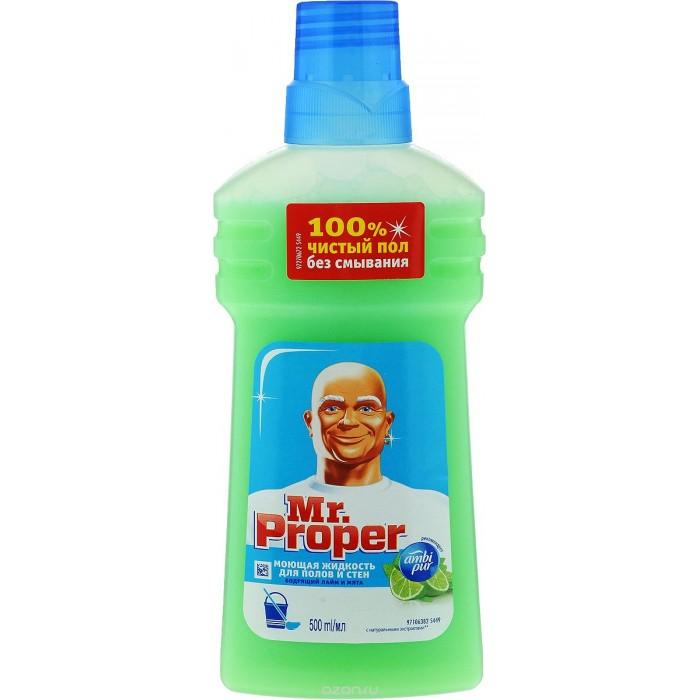 Бытовая химия Mr. Proper Средство для полов Бодрящий лайм и мята 500 мл средство для мытья полов и стен mr proper с ароматом лимона 500 мл
