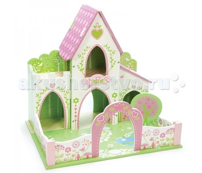 LeToyVan Замок фей и волшебницЗамок фей и волшебницLe Toy Van Замок фей и волшебниц - это домик для кукол, призванный приютить сказочных волшебных персонажей. Простая и эффектная архитектура сооружения, дополненная открытой площадкой и смотровым балконом выполнены в нежных оттенках розового и салатового цветов. Кукольный замок окружен живой цветущей изгородью, а во внутреннем дворе растет волшебное дерево.  Это сборная модель для детей от трех лет. Большинство элементов крепятся между собой методом шип-паз. Игрушка выполнена из натуральных материалов и окрашена безопасными для детей красками. Продается в цветной подарочной упаковке.  Особенности:  открытая площадка смотровой балкон волшебное дерево в саду нежные цвета, использованные в оформлении легко собирается натуральные материалы и безопасные краски<br>