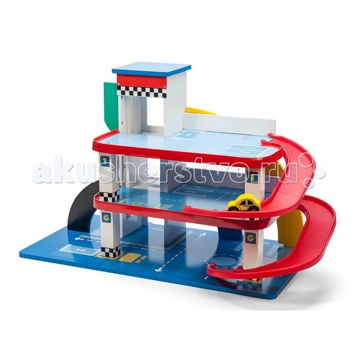 LeToyVan Игровой набор Трехэтажный паркингИгровой набор Трехэтажный паркингLe Toy Van Игровой набор Трехэтажный паркинг будет отличным подарком для юного автомобилиста. Все этажи парковки объединены красными спиральными пандусами, расположенными на обратной стороне. Стоит отметить, что они имеют плавные, округлые формы, тем самым снижая риск травмирования во время игры.  Кроме того, помимо пандусов для сообщения с верхними ярусами парковки также можно использовать лифт, поднимающийся при помощи красной ручки, расположенной справа.    На территории всего паркинга нанесена разметка с раздилительными полосами, парковочными местами, местами для инвалидов, дорожными знаками и прочими указателями. Также в комплект входит набор наклеек на английском, французском, немецком и испанском языках, а также небольшой желтый автомобиль.  Конструкция гаража легко и быстро собирается, не требует специальных инструментов, можно протирать мягкой влажной тряпочкой. Все материалы и краски, которые использовались при производстве игрового набора, безопасны для детей. Набор упакован в подарочную коробку с переносной пластиковой ручкой.  Гаражный комплекс включает в себя: трехуровневую парковку лифт спиральные пандусы желтый автомобиль красивая подарочная упаковка<br>