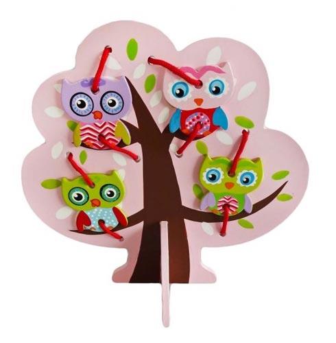 Деревянные игрушки Mapacha Шнуровка Дерево с совятами цена