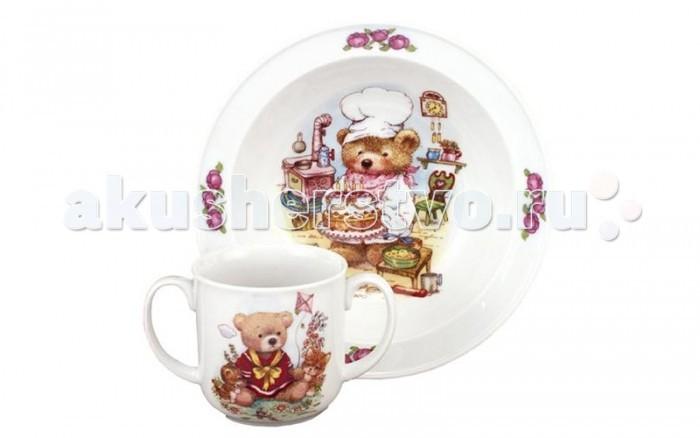 Посуда Reutter Porzellan Набор детской посуды Джордано Медвежонок 2 предмета посуда reutter porzellan тарелка детская с двойным дном для подогрева утка джемайма