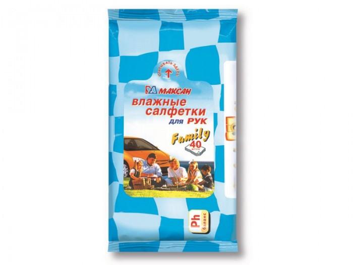 Салфетки Максан Family Влажные салфетки антибактериальные для рук 40 шт. smile салфетки влажные special 15 шт антибактериальные с подорожником
