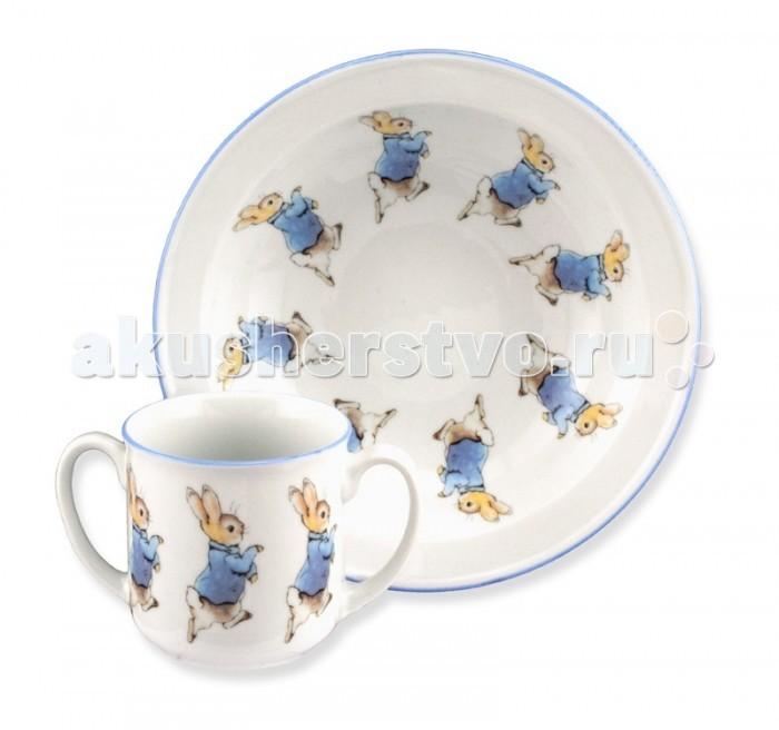 Reutter Porzellan Набор детской посуды Кролик Питер 2 предметаНабор детской посуды Кролик Питер 2 предметаReutter Porzellan Набор детской посуды Кролик Питер 2 предмета. Набор детской посуды с оригинальными  иллюстрациями героев книжек Беатрис Поттер: кролик Питер.   В состав входит глубокая тарелка диаметром 18 см, чашка объемом 180 мл.   Посуда пригодна для использования в микроволновой печи и посудомоечной машине. Набор упакован в красочную картонную коробку.<br>