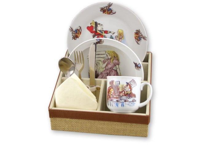 Посуда Reutter Porzellan Набор детской посуды с подставкой Алиса в стране чудес 6 предметов посуда reutter porzellan тарелка детская с двойным дном для подогрева утка джемайма