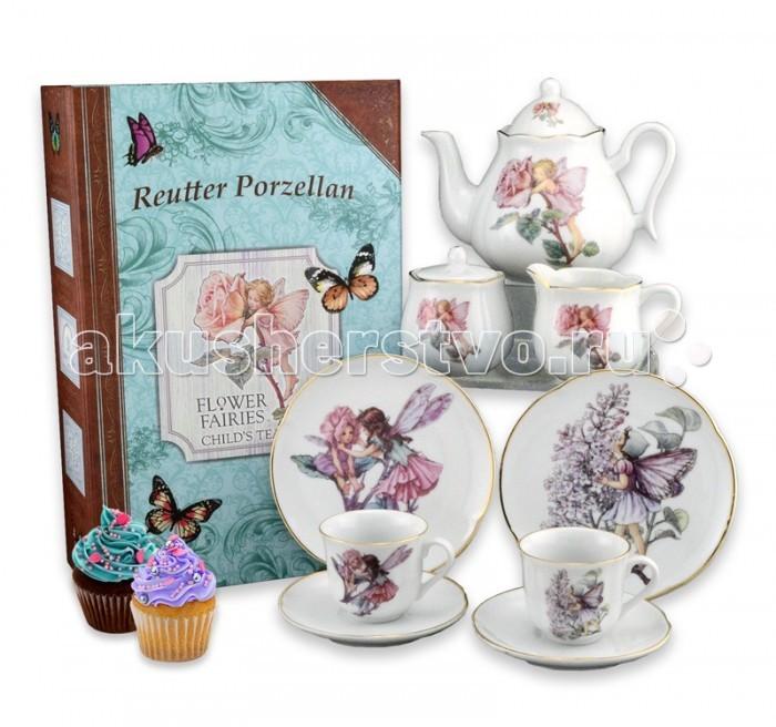 Посуда Reutter Porzellan Детский чайный сервиз Цветочные феи в подарочном кофре-книжке на 2 персоны посуда reutter porzellan тарелка детская с двойным дном для подогрева утка джемайма