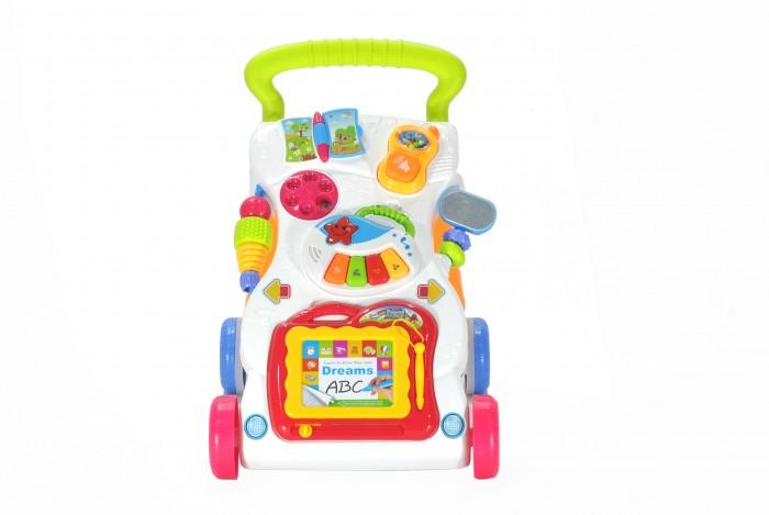 Каталка-игрушка Everflo Игровой центр-ходунок 2 в 1 Первые шагиИгровой центр-ходунок 2 в 1 Первые шагиEverflo Игровой центр-ходунок 2 в 1 Первые шаги  Центр игровой развивающий Ходунок 2 в 1 помогает ребенку стоять и делать первые шаги в полной безопасности!  Все, что малышу нужно сделать – это взяться за игрушку, начать двигаться и игрушка сразу же начнет наигрывать веселую мелодию, которая прекратится, как только ребенок остановится, поощряя его сделать еще несколько шагов. Игрушка также является активным игровым центром с играми, огоньками и забавными звуковыми эффектами. Для работы необходимы две батарейки типа АА.  Возраст: от 12 месяцев удобная ручка для толкания/переноски Размеры: 32 х 42 х 45 см  Батарейки: 2 AA (в комплектацию не входят)<br>