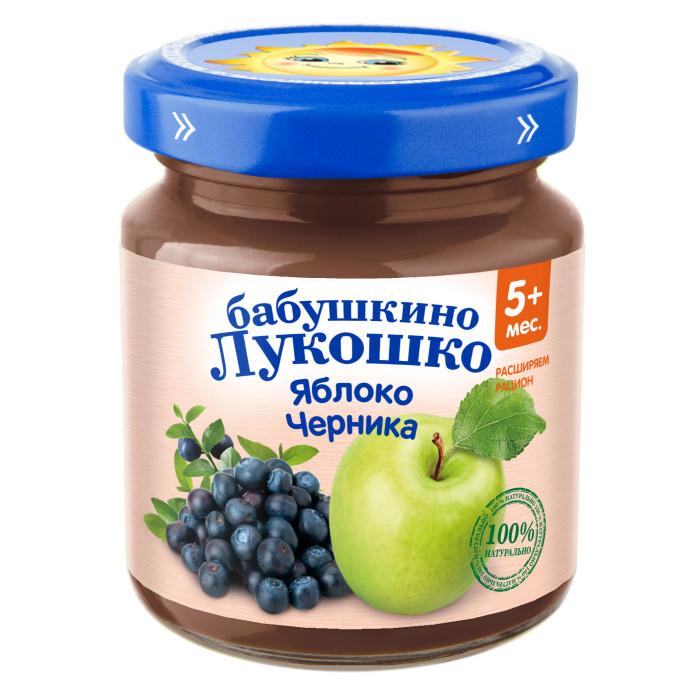 Пюре Бабушкино лукошко Пюре Яблоко, черника с 5 мес., 100 г