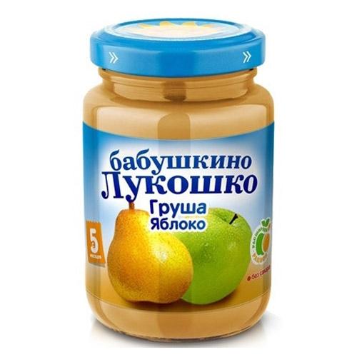 Пюре Бабушкино лукошко Пюре Груша, яблоко с 5 мес., 200 г пюре бабушкино лукошко кабачок яблоко с 5 мес 100 г