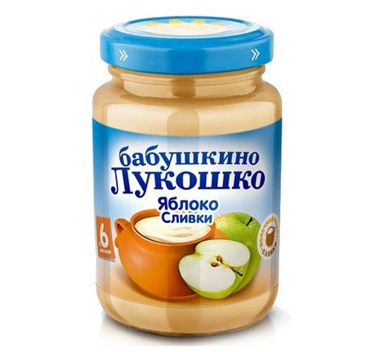 Пюре Бабушкино лукошко Пюре Яблоко, сливки с 6 мес., 200 г сок мята
