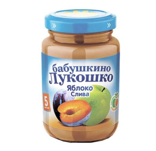 Пюре Бабушкино лукошко Пюре Яблоко, слива с 5 мес., 200 г пюре бабушкино лукошко яблоко черная смородина с 5 мес 100 г