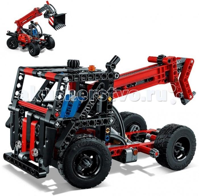 Конструктор Lego Technic Телескопический погрузчикTechnic Телескопический погрузчикКонструктор Lego Technic Телескопический погрузчик является универсальным видом строительной техники, так как способен размещать грузы в таких местах, куда обычным кранам и экскаваторам не добраться.   Особенности: Каркас машины представляет собой колесную базу, кабину для водителя и стрелу, способную удерживать груз под углом 90 градусов. Передние и задние колеса представляют собой две не связанные друг с другом оси, благодаря чему они могут поворачиваться вправо и влево независимо друг от друга.  Из деталей конструктора ребенок сможет собрать 2 вида техники. Первая - это экскаватор, для которого предусмотрен ковш, второй вариант чем-то напоминает эвакуатор, где стрела располагается уже в другом положении. Набор Lego Technic совместим с другими наборами этой же серии.  Подробная инструкция, входящая в комплект, позволит ребенку собирать конструктор, как в присутствии взрослого, так и самостоятельно.  Конструкторы Lego не только развлекут девочку, но и позволят ей усовершенствовать мелкую моторику, развить воображение и творческую фантазию.   Все детали конструктора изготовлены из безопасного и качественного материала, при производстве используется многоступенчатая система контроля качества.<br>