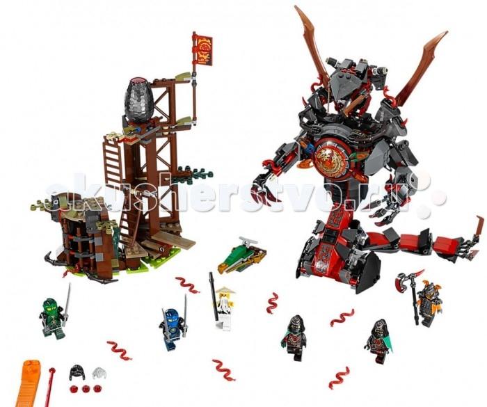 Конструктор Lego Ninjago Железные удары судьбыNinjago Железные удары судьбыКонструктор Lego Ninjago Железные удары судьбы очень интересен в сборке, необычайно вариативен, а к тому же имеет механические элементы, позволяющие отдельным составляющим конструктора быть подвижными!  На этот раз действие будет проходить в форте Алой армии, на болотах. Именно там близнецы, в чьей власти находится время - Крукс и Акроникс удерживают Мастера Ву, оказавшегося в плену. Их главным оружием является большой механический змей. Мало кто может противостоять этой грозной машине. Своим хвостом змей разит всех врагов наповал, а ракеты, которыми он стреляет из глаз, могут настигать его жертв на расстоянии. Освободить мастера Ву из заключения будет непросто, и для этого пригодится хорошая тактика наступления.   Близнецы, заполучив все четыре Клинка Времени, решили подключить их Порталу Времени. Нельзя дать им захватить те силы, которыми обладает портал. Их нужно остановить как можно быстрее.  Особенности: В комплекте конструктора Ninjago представлены детали для сборки форта и механического змея, а также 6 мини-фигурок героев. Набор Lego Ninjago совместим с другими наборами этой же серии.  Подробная инструкция, входящая в комплект, позволит ребенку собирать конструктор, как в присутствии взрослого, так и самостоятельно.  Конструкторы Lego не только развлекут девочку, но и позволят ей усовершенствовать мелкую моторику, развить воображение и творческую фантазию.   Все детали конструктора изготовлены из безопасного и качественного материала, при производстве используется многоступенчатая система контроля качества.  Высота робота-змеи: 23 см. Размер болотной башни: 20 x 19 x 11 см.<br>
