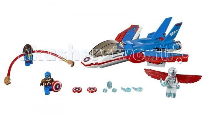 Конструктор Lego Super Heroes Воздушная погоня Капитана АмерикаSuper Heroes Воздушная погоня Капитана АмерикаКонструктор Lego Super Heroes Воздушная погоня Капитана Америка - это тематический набор, посвященный одному из самых популярных персонажей комиксов Marvel, который также входит в команду мстителей.  Особенности: Фигурка этого отважного героя тоже присутствует в комплект, однако, главной игрушкой является оригинальный самолет, который необходимо собрать с помощью достаточно большого количества деталей. Его сборка, возможно, будет не самой простой, однако, результат сможет порадовать ребенка возможностью проведения множества увлекательных приключенческих игр. Тем более, что помимо Капитана Америки в комплектации набора есть еще пара игрушек в виде его противников. Каждый из них оснащен специальными аксессуарами. Несмотря на некоторую конструктивную стилизацию, летательный аппарат оформлен очень реалистично. Тонко исполненный детализированный корпус модели, окрашенный в яркие цвета, сможет привлечь еще больше детского внимания. Набор Lego Super Heroes совместим с другими наборами этой же серии.  Подробная инструкция, входящая в комплект, позволит ребенку собирать конструктор, как в присутствии взрослого, так и самостоятельно.  Конструкторы Lego не только развлекут девочку, но и позволят ей усовершенствовать мелкую моторику, развить воображение и творческую фантазию.   Все детали конструктора изготовлены из безопасного и качественного материала, при производстве используется многоступенчатая система контроля качества.<br>