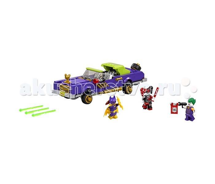 Конструктор Lego Batman Movie 70906 Лоурайдер ДжокераBatman Movie 70906 Лоурайдер ДжокераКонструктор Lego Batman Movie 70906 Лоурайдер Джокера состоит из 433 деталей и 3 минифигурок.  Лоурайдер выполнен в фиолетовом цвете с салатовыми и золотистыми деталями и выглядит эффектно. Он очень детализирован: дождевики на лобовом стекле, запасное колесо сзади корпуса и золотая курочка на капоте. Даже салон продуман до мельчайших деталей: звуковая система с колонками, руль, рычаг, опускающиеся сидения с принтом зебры и клаксон со стороны водителя.   Лоурайдер очень функционален. У него есть возможность приподнять корпус, увеличивая дорожный просвет (от корпуса до колес), что позволит наклонять корпус и маневрировать. Также при открытии багажника и нажатии на 2 синие детали под салатовой крышей в салоне, лоурайдер выстреливает из 2 скрытых в багажнике шутеров.   У минифигурки Джокера фиолетовые костюм, зелёные волосы и 2 выражения лица. В руках у Джокера пистолет, из которого торчит флажок с надписью Bang!  Минифигурка Харли Квин выполнена в черно-красном цвете. У неё в руке бита, а на ногах ролики. У Харли Квин также 2 выражения лица: веселое и грустное.  Бэтгерл одета в фиолетовый костюм с желтым тканевым плащом. У неё на голове надета маска, но при этом виден хвост волос, а также надет желтый пояс. В руках у минифигурки жёлтый бэтаранг, и есть 2 выражения лица: довольное и злое.  В наборе: 433 детали 3 минифигурки лоурайдер наклейки для декорирования<br>