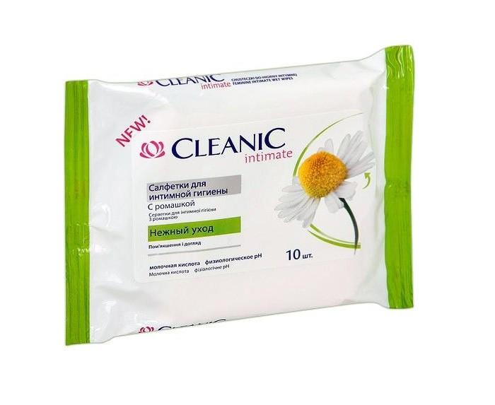 купить Гигиена для мамы Cleanic Салфетки влажные для интимной гигиены с экстрактом ромашки дисплей 10 шт. дешево