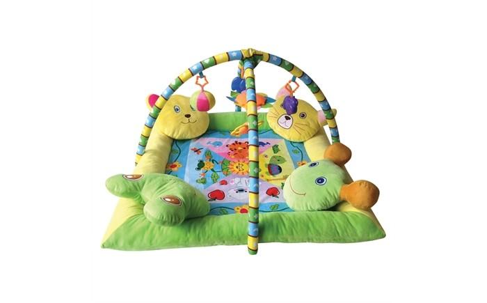 Игровой коврик Bertoni (Lorelli) С 4-мя подушечкамиС 4-мя подушечкамиBertoni (Lorelli) Игровой коврик С 4-мя подушечками  Игровой коврик с подушечками и мягкими бортиками сшит из ворсистой плюшевой и моющейся ткани, которая не раздражает кожу и гипоаллергенна для малыша. Он наиболее безопасен для крохи, пока он учится самостоятельно сидеть, переворачиваться и начинает ходить.   Над ковриком расположены дуги со съемными погремушками и зверюшками для развития первичных чувств и двигательной активности детских рук. Небьющееся зеркальце и погремушка развлекут кроху. Модель легко складывается и транспортируется, поскольку она также пользуется за пределами дома.  Характеристики: от 6 мес до 2-х лет 4 подушечки-игрушки оригинальная форма мягкая не скользящая ткань дуги с игрушками компактный вид размер: 86 х 86 см<br>