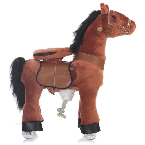 Каталка Ponycycle Рыжая лошадка средняя 4171Рыжая лошадка средняя 4171Каталка Ponycycle Рыжая лошадка средняя озвученная - это детская механическая лошадка, уникальная игрушка для верховой езды, которая позволяет малышу ощутить себя настоящим наездником.   Чтобы привести лошадку в действие Вам не понадобятся батарейки или аккумуляторы, движение происходит механически. Для этого ребенку нужно сесть в седло, лицом вперед, держась руками за деревянные ручки на голове поницикла, надавить на педали-стремена и немного привстать, седло поднимется вверх, затем наездник сгибает колени и седло опускается вниз. Полная имитация верховой езды.  Чем активнее ребенок будет садиться, и привставать в седле, тем резвее будет скакать его лошадка. Ваш малыш получит ни с чем несравнимое ощущение настоящей верховой езды. При этом лошадка не перегружает опорно-двигательный аппарат ребенка, это можно сказать – первый тренажер при игре с которым у ребенка развиваются основные группы мышц. Езда на лошадке положительно влияет на осанку, что немаловажно для дошкольников и школьников младших классов.  Конструкция и материалы: Каркас игрушки изготовлен из высокопрочной стали, рычажно-шарнирный механизм сбалансирован и устойчив, корпус выполнен из пенопласта Ножки игрушки оснащены полиуретановыми колесами, диаметром 80 мм, едут плавно и бесшумно В механизме колес имеется противооткатная защита Экстерьер повторяет внешний вид животного Меховая одежка выполнена из мягкого, гипоаллергенного материала Срок службы 1 год  Важная информация: Всадник обязательно должен сидеть в седле, а не на корпусе поницикла Одновременно кататься на поницикле может только один всадник Поницикл двигается только вперед. Не пытайтесь двигать его назад, так можно повредить колеса Никогда не просовывайте руки между сиденьем седла и корпусом поницикла Хранить поницикл нужно в вертикальном положении, в сухом, проветриваемом помещении От 4-и до 10-и лет  Обслуживание: При необходимости шкурка легко чистится, с помощью моющих с