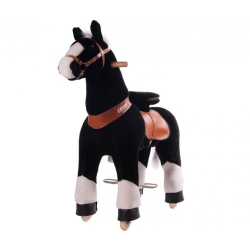 Каталка Ponycycle Черная лошадка с белым копытцем средняя 4182Черная лошадка с белым копытцем средняя 4182Каталка Ponycycle Черная лошадка с белым копытцем средняя озвученная - это детская механическая лошадка, уникальная игрушка для верховой езды, которая позволяет малышу ощутить себя настоящим наездником.   Чтобы привести лошадку в действие Вам не понадобятся батарейки или аккумуляторы, движение происходит механически. Для этого ребенку нужно сесть в седло, лицом вперед, держась руками за деревянные ручки на голове поницикла, надавить на педали-стремена и немного привстать, седло поднимется вверх, затем наездник сгибает колени и седло опускается вниз. Полная имитация верховой езды.  Чем активнее ребенок будет садиться, и привставать в седле, тем резвее будет скакать его лошадка. Ваш малыш получит ни с чем несравнимое ощущение настоящей верховой езды. При этом лошадка не перегружает опорно-двигательный аппарат ребенка, это можно сказать – первый тренажер при игре с которым у ребенка развиваются основные группы мышц. Езда на лошадке положительно влияет на осанку, что немаловажно для дошкольников и школьников младших классов.  Конструкция и материалы: Каркас игрушки изготовлен из высокопрочной стали, рычажно-шарнирный механизм сбалансирован и устойчив, корпус выполнен из пенопласта Ножки игрушки оснащены полиуретановыми колесами, диаметром 80 мм, едут плавно и бесшумно В механизме колес имеется противооткатная защита Экстерьер повторяет внешний вид животного Меховая одежка выполнена из мягкого, гипоаллергенного материала Срок службы 1 год  Важная информация: Всадник обязательно должен сидеть в седле, а не на корпусе поницикла Одновременно кататься на поницикле может только один всадник Поницикл двигается только вперед. Не пытайтесь двигать его назад, так можно повредить колеса Никогда не просовывайте руки между сиденьем седла и корпусом поницикла Хранить поницикл нужно в вертикальном положении, в сухом, проветриваемом помещении От 4-и до 10-и лет  Обслуживание: При н