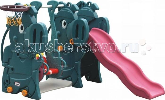 Family Горка с качелями Динозавры VS-806Горка с качелями Динозавры VS-806Family Горка с качелями Динозавры VS-806  изготовлен из яркого, однородного и надежного пластика.   Детский комплекс выполнен в ярких цветах и имеет оригинальный дизайн. Краски устойчивы к ультрафиолетовому излучению и изменениям температуры, устойчивы к истиранию и воздействию внешней среды. Игровая площадка соответствует ГОСТам, которые указаны в сертификатах соответствия.   Детская горка с волнообразным скатом обеспечит плавный спуск и мягкое приземление Вашему ребенку, широкие ступени и надежные поручни помогут ему подниматься на горку самостоятельно, боковые стенки конструкции  имеют рельефную структуру, что обеспечивает дополнительную безопасность, под горкой есть небольшое пространство для игр.    Детские качели с удобным пластиковым сиденьем с высокой спинкой  и съемной  передней защитной перекладиной с перегородкой для ножек,  которая защищает ребенка от падения во время раскачивания, благодаря чему на них может качаться совсем маленький ребенок. Перегородка снимается, когда малыш подрос и уже может качаться самостоятельно.  Так же в детском комплексе имеется баскетбольное кольцо. Можно использовать для игр, как в помещении, так и на улице.  Размер: 1.74 х 1.70 х 1.15 м. Размеры упаковки: 143 х 51 х 76 см. Объем: 0.55 м3. Вес: 33.5 кг. Возраст: от 1 года до 4х лет.<br>