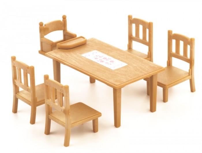 Кукольные домики и мебель Sylvanian Families Игровой набор Обеденный стол с 5 стульями набор холодильник с продуктами sylvanian families