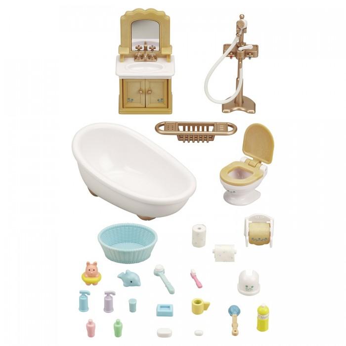 Sylvanian Families Ванная комнатаВанная комнатаВ наборе Sylvanian Families «Ванная комната» имеется все необходимое, для жителей волшебной страны Сильвания. Такой комплект не оставит никого равнодушным. Здесь есть два умывальника, в которых очень удобно умываться и чистить зубы. А по вечерам можно принять ванну с пеной, для этого есть все, что нужно.   Также имеется комфортный набор мебели для ванной, в котором все лежит на своем месте. С таким набором не составит труда найти нужную вещь. Все шампуни, гели, пасты и прочие ванные принадлежности смотрятся здесь великолепно. Такой набор понравится всем и добавит огромное удовольствие.  В наборе: ванна душ (+подставка), кран унитаз с крышкой держатель для туалетной бумаги со сменными рулонами игрушка для ванны ершик щетка для мытья шампунь и кондиционер мыло с мыльницей зубная щетка, стаканчик, зубная паста контейнеры с моющими средствами стенка с умывальником, держателем для полотенца и полотенцем умывальник с подставкой (зеркало, шкафчик) корзина для белья 2 махровых полотенца и тапочки  Внимание: зверюшки в набор не входят.  Сказочный мир игровых наборов Sylvanian Families разнообразен - это всевозможные зверюшки, у каждого из которых есть собственный дом, семья, работа. Состав семей в игровых наборах Sylvanian Families не ограничивается стандартным «папа, мама, ребенок», здесь есть даже бабушки и дедушки. Герои игровых наборов Sylvanian Families разнообразны: кролики, еноты, медведи, мыши, ежи, белки и многие другие. Однако разнообразием героев мир игрушек Sylvanian Families не ограничивается. Дома, предметы мебели, игрушечная еда и многие другие аксессуары представлены в ассортименте игрушек Sylvanian Families.<br>