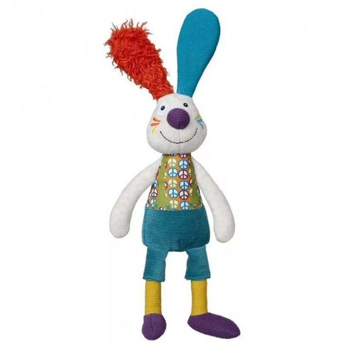 Развивающая игрушка Ebulobo Кролик ДжефКролик ДжефEbulobo Развивающая игрушка Кролик Джеф можно дарить малышам с самых первых дней их жизни. Благодаря своему добродушному виду и яркому наряду, он легко войдет в доверие и станет лучшим другом Вашего малыша.  Джеф одет так же, как одеваются ребята, которые ходят в садик: на нем красивая рубашка, синие шортики, желтенькие колготки и фиолетовые ботиночки. В кармане шортов Джефа множество интересных предметов: лук, морковь, цветок и баклажан. Овощи играют роль развивающих элементов: они все разного цвета и издают разные звуки, когда их мнешь.<br>