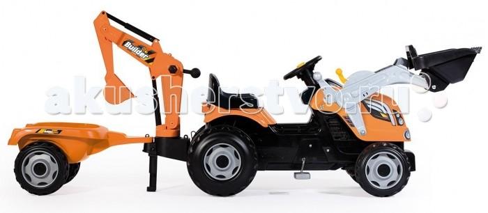 Smoby Трактор педальный строительный с 2-мя ковшами и прицепами