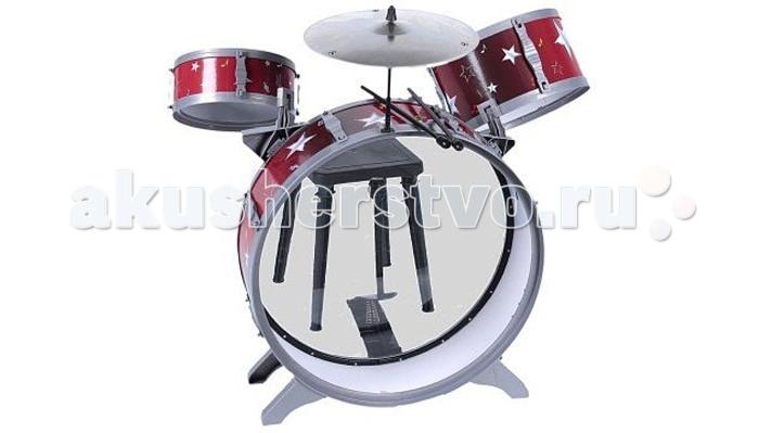 Музыкальная игрушка Simba Барабанная установка с тарелками барабанными палочками и стульчикомБарабанная установка с тарелками барабанными палочками и стульчикомSimba Барабанная установка с тарелками, барабанными палочками и стульчиком, 55см позволит маленькому любителю музыки почувствовать себя самым настоящим барабанщиком. Музыкальный инструмент помогает малышам развивать слух, чувство ритма и мелкую моторику.  Развивать музыкальные умения у ребенка необходимо, ведь не зря говорят, что чем выше у ребенка развито творчество, тем быстрее он схватывает более сложные науки в школьном возрасте.<br>