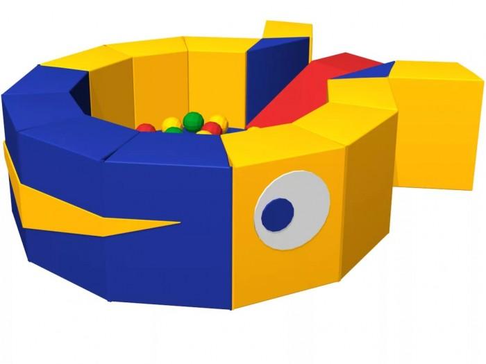 Romana Сухой бассейн КитСухой бассейн КитRomana Сухой бассейн Кит обладает массажными свойствами, помогает расслабиться и приносит много радости детям дошкольного и младшего школьного возраста, рассчитан на использование до четырех человек одновременно и станет приятным дополнением любым детским игровым комнатам и уголкам.   Особенности: Благодаря оригинальному дизайну: яркие цвета - развлекают и надолго привлекают внимание ребенка, а необычная форма - развивает ловкость, координацию и детскую фантазию. Мягкие блоки соединяются на липучке, что позволяет собирать и разбирать конструкцию.  Прочные соединения, устойчивая конструкция, удобная и мягкая поверхность основы и бортиков, защищают ребенка при падениях и максимально обеспечивают безопасность детей во время игры.  Преимущества: Массажирует Развивает мелкую моторику и координацию Стимулирует подвижность ребенка и его физическую активность Занимает ребенка, освобождая время родителей Создает психологический комфорт Соответствует требованиям ГОСТ  Занимаемая площадь:  1200 x 1500 мм Высота: 50 см Мат: 80 х 80 х 10 см - 1 шт. Горка: 75 х 40 х 40 см - 1 шт. Треугольник: 32 х 10 х 50 см - 2 шт. Трапеция: 30 х 20 х 50 см - 12 шт. Шарики: 300 шт.<br>